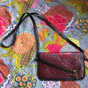 Red Leather Engraved Envelope Purse
